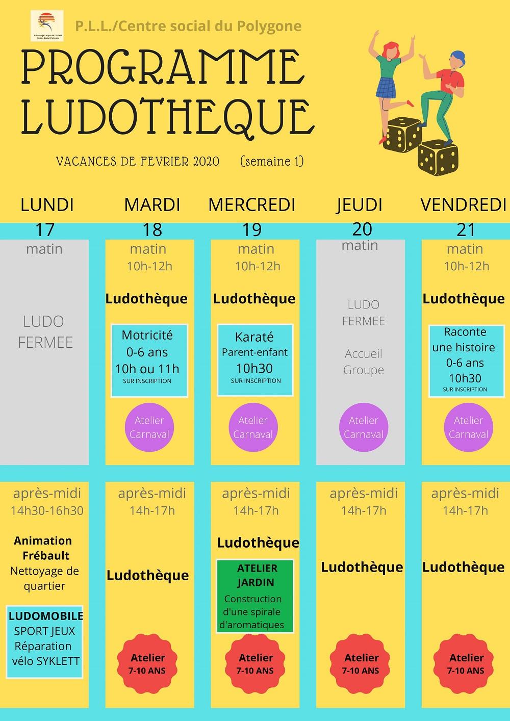 Ludothèque - vacances de Février 2020