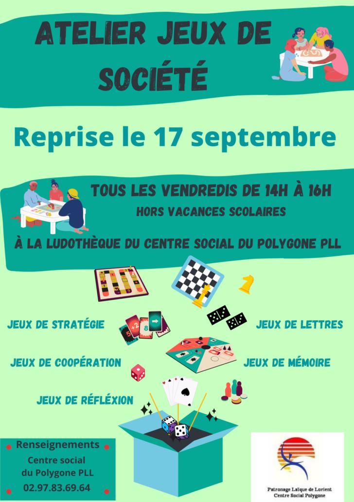 Atelier Jeux de société @ Centre social du Polygone PLL | Lorient | Bretagne | France